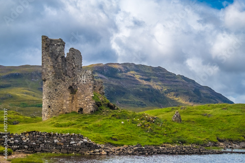 Recess Fitting Ruins Ardvreck Castle, a ruined 16th century castle standing on a rocky promontory jutting out into Loch Assynt in Sutherland in the far north west of the Scottish Highlands.