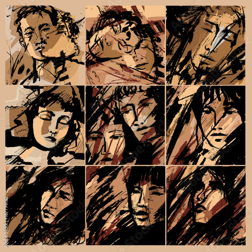 Fotobehang Art Studio Abstract faces of men and women on grunge background