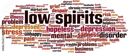 Fényképezés Low spirits word cloud