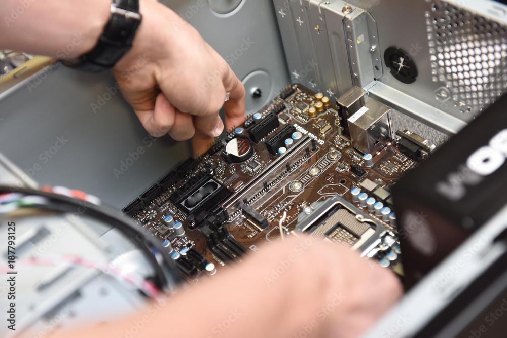 Fototapeta Informatique internet ordinateur montage PC materiel connection