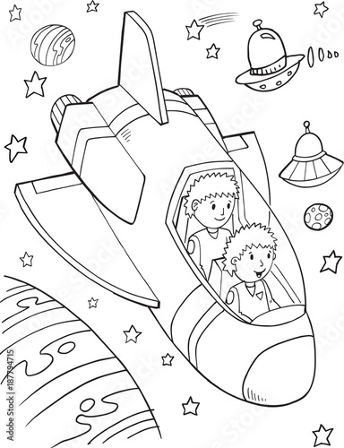 Poster Cartoon draw Outer Space Astronauts Vector Illustration Art