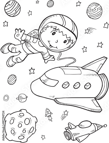 Staande foto Cartoon draw Astronaut Outer Space Vector Illustration Art