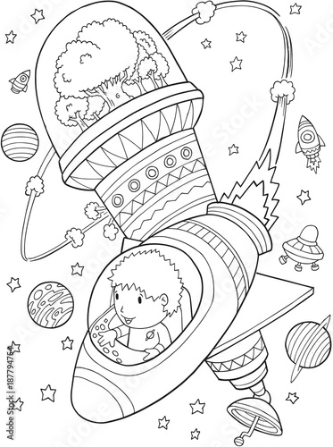 Fotobehang Cartoon draw Outer Space Astronaut Space Station Vector Illustration Art