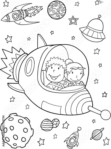 Poster Cartoon draw Spaceship Rocket Outer Space Vector Illustration Art