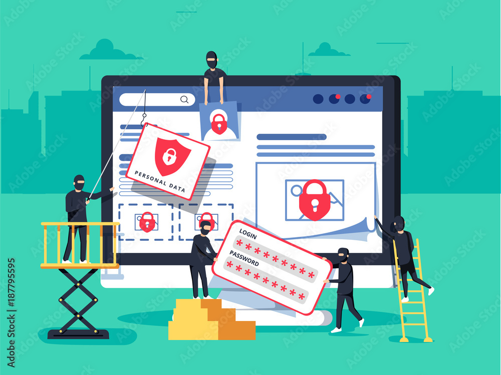 Fototapeta Hackers robbing computer. people in black masks stealing data and money.