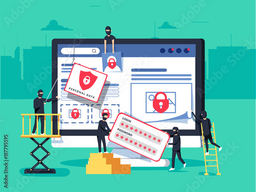 Fototapeta Hackers robbing computer. people in black masks stealing data and money. obraz