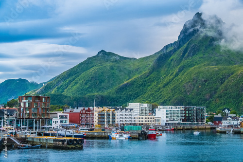 Svolvaer harbor, Lofoten Islands, Nordland, Norway. Located north of the Arctic Circle. Natural beauty, distinctive scenery, dramatic mountains and peaks, fjords and picturesque villages.