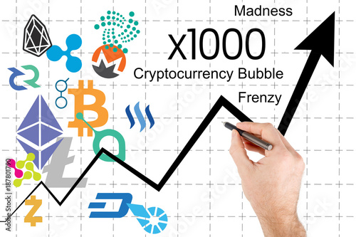 Fotografía  Cryptocurrency bubble - Chart showing cryptocurrency price surge