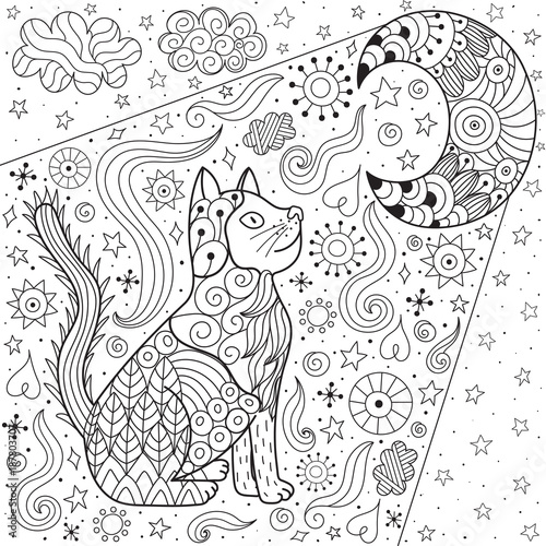 Dreaming cat looking at the moon coloring page. Doodle black ...