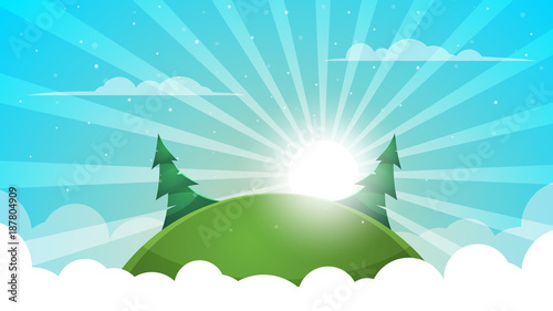 Tuinposter Turkoois Cartoon landscape - abstract illustration. Sun, ray, glare, hill, fir, cloud.