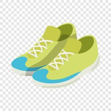 Green Sneakers Isometric Icon