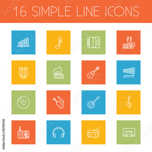 Fotografie, Obraz  Set Of 16 Melody Outline Icons Set