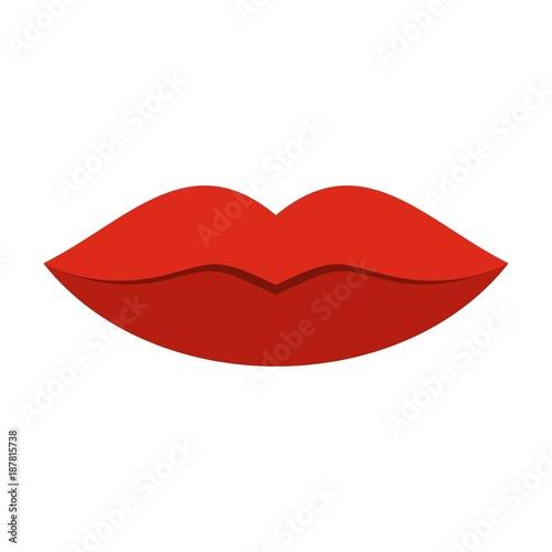 Fotografia, Obraz  Red female lips icon, flat style