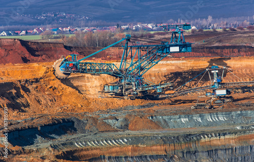 coal mine, opencast mining and blue mining machinery Wallpaper Mural