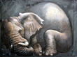 Sleeping elephant. Big elephant illustration. Gulliver.