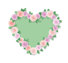 Heart Frame Decorated With Ros...