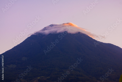 Stunning view of volcano in Guatemala called Agua. 3,760 m. Central America. Nature reserve attractive landscape tourism.