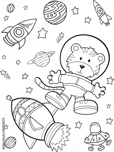 Staande foto Cartoon draw Outer Space Astronaut Rocket Vector Illustration Art