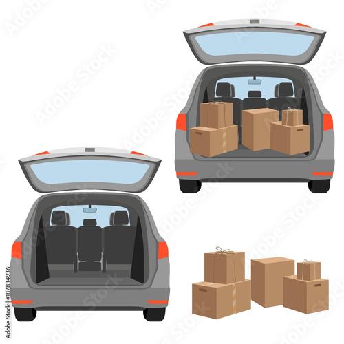 Fotografia, Obraz Estate car with opened trunk and cardboard boxes inside