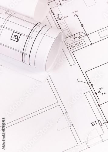 Rolls Of Electrical Blueprints Or Construction Diagrams For Use In