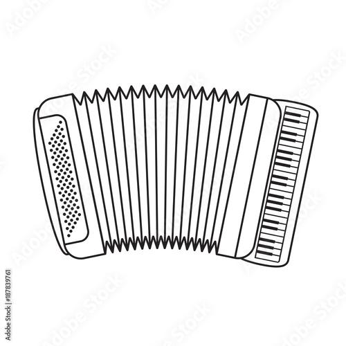 Photo black outline accordion vector cartoon
