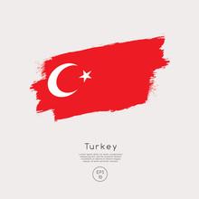 Flag Of Turkey In Grunge Brush...