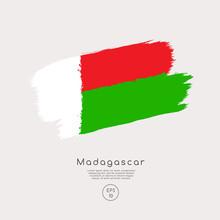 Flag Of Madagascar In Grunge Brush Stroke : Vector Illustration