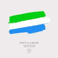 Flag Of Sierra Leone In Grunge Brush Stroke : Vector Illustration