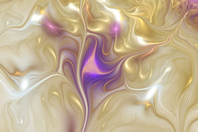 Abstract Golden And Violet Swirly Texture. Fantasy Fractal Background. Digital Art. 3D Rendering.