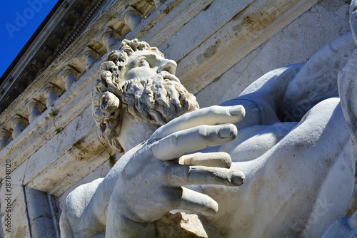 Photo  Sculpture of Ancient Roman allegory of Tiber River. Rome. Italy.