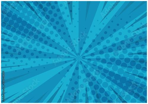 Obraz na plátně Abstract blue striped retro comic background with halftone corners