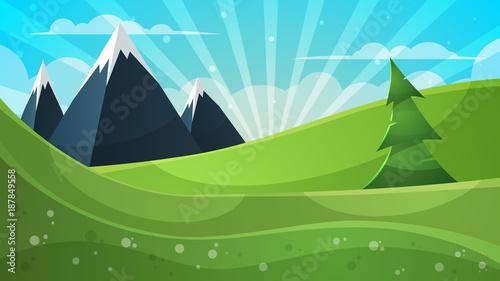 Photo Stands Turquoise Cartoon illustration. Mountain, fir, cloud, sun.