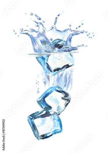 kostki-lodu-spada-w-wode-odizolowywajaca