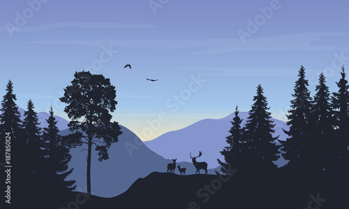Spoed Foto op Canvas Grijze traf. Realistic vector illustration of landscape with forest anddeer