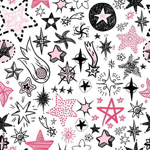 Śmieszne zbiory gwiazd i komety ikony wzór. Dzieciaki ręczne