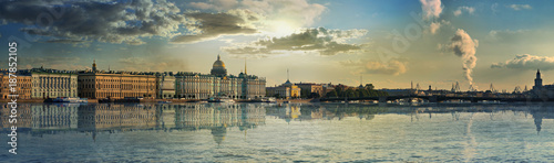 plakat Panorama of the Palace embankment and the bridge in Saint-Petersburg