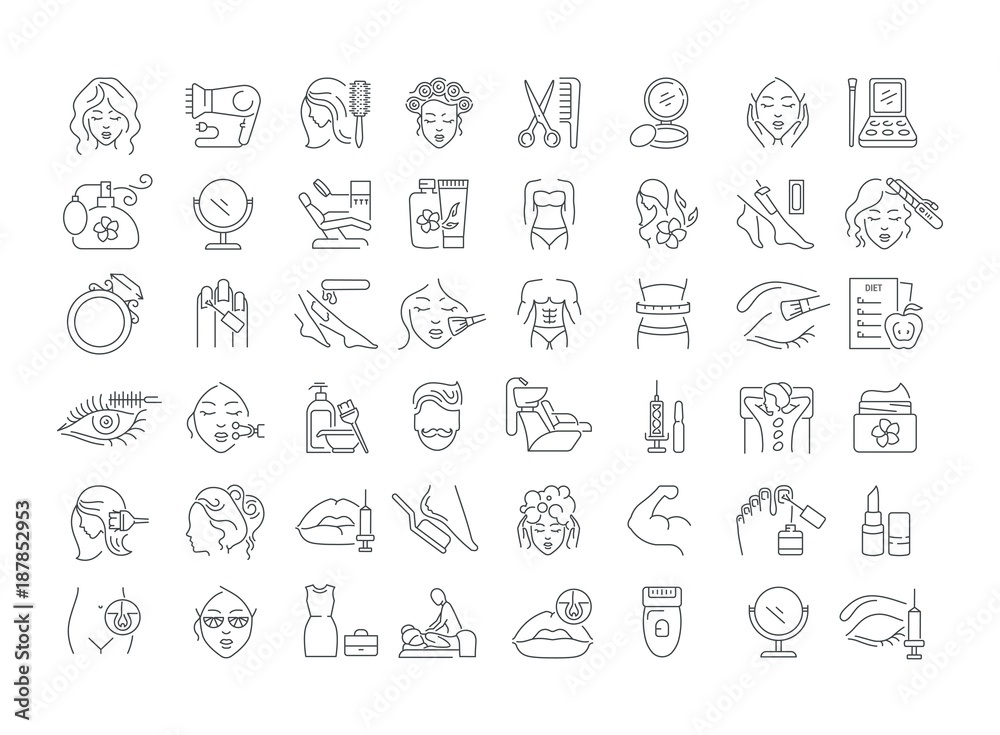 Fototapety, obrazy: Vector graphic set. Icons in flat, contour, thin, minimal and linear design. Beauty. Attributes of beauty for men and women. Concept illustration for Web site. Sign, symbol, element.