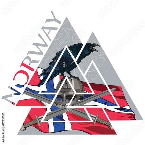 Valknut ancient pagan Nordic Germanic symbol, Norway flag, Raven and Viking weap Wallpaper Mural