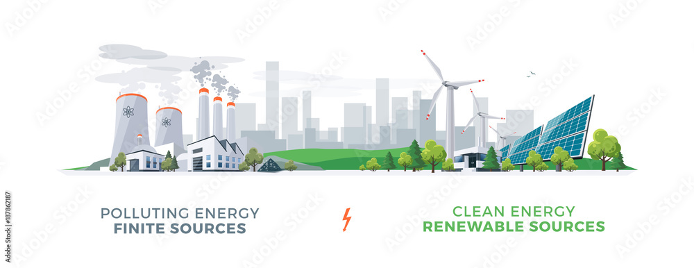 Fototapeta Vector illustration showing clean and polluting electricity generation production. Polluting fossil thermal coal and nuclear power plants versus clean solar panels and wind turbines renewable energy.