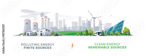Obraz Vector illustration showing clean and polluting electricity generation production. Polluting fossil thermal coal and nuclear power plants versus clean solar panels and wind turbines renewable energy. - fototapety do salonu