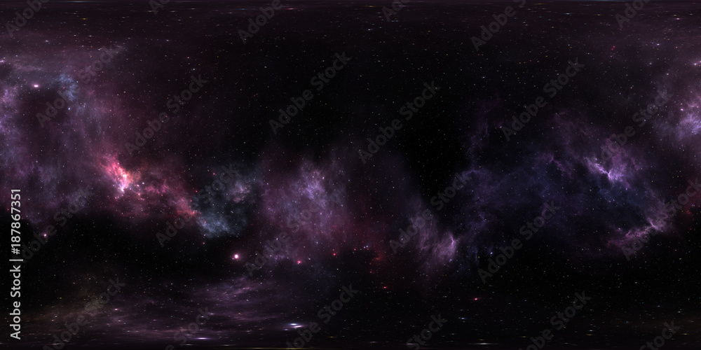 Fototapety, obrazy: Space background with purple nebula and stars. Panorama, environment 360 HDRI map. Equirectangular projection, spherical panorama. 3d illustration