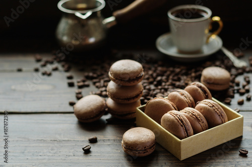 Aluminium Prints Macarons French biscuits macarons with coffee