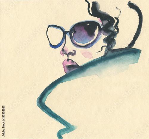 Poster Portrait Aquarelle Abstract woman face. Fashion illustration.