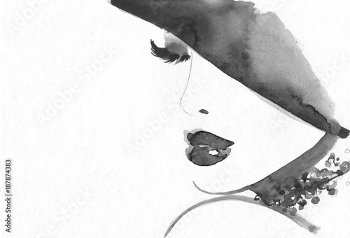Papiers peints Portrait Aquarelle Abstract woman face. Fashion illustration.