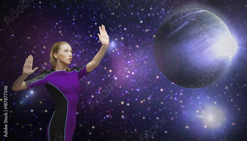 Photo futuristic woman over planet and stars in space