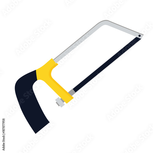 Valokuvatapetti Hacksaw or hack saw vector icon illustration if flat design