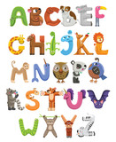 Fototapeta Child room - Zoo alphabet. Animal alphabet. Letters from A to Z. Cartoon cute animals isolated on white background