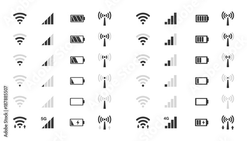 Foto wifi level icons, signal strength indicator, battery charge