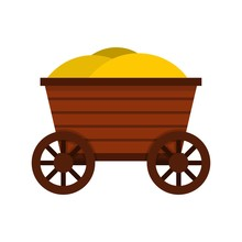 Vintage Wooden Cart Icon, Flat Style