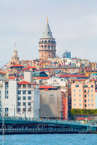 Galata Tower, Galata Bridge, Karakoy district and Golden Horn , istanbul - Turke Poster